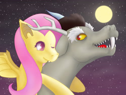 Size: 5235x3969 | Tagged: safe, artist:don random, discord, fluttershy, bat pony, draconequus, pegasus, pony, bat ponified, bat wings, biting, digital art, duo, fangs, female, flutterbat, looking at each other, male, moon, night, one eye closed, open mouth, race swap, sharp teeth, spread wings, teeth, wings