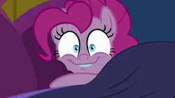 Size: 1280x720   Tagged: safe, screencap, pinkie pie, earth pony, pony, cakes for the memories, spoiler:cakes for the memories, spoiler:mlp friendship is forever, bed, blanket, cute, female, girly, lip bite, looking at you, mare, pillow, smiling, solo