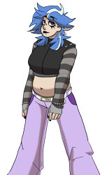 Size: 722x1181 | Tagged: safe, alternate version, artist:greenarsonist, artist:icey-wicey-1517, color edit, edit, lilymoon, human, adult, alternate hairstyle, belly button, bellyring, belt, chubby, clothes, collaboration, colored, ear piercing, earring, eyebrow piercing, female, humanized, jacket, jeans, jewelry, lipstick, makeup, midriff, nail polish, older, older lilymoon, pants, piercing, simple background, snake bites, solo, transparent background, wristband