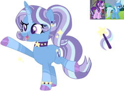 Size: 1280x940 | Tagged: safe, artist:adoptimals-fim, starlight glimmer, trixie, oc, unicorn, female, lesbian, magical lesbian spawn, offspring, parent:starlight glimmer, parent:trixie, parents:startrix, shipping, simple background, startrix, transparent background
