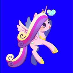 Size: 768x768 | Tagged: safe, artist:tomizawa96, princess cadance, alicorn, pony, blue background, chest fluff, crystal heart, cute, cutedance, female, girly, heart, leg fluff, mare, open mouth, simple background, smiling, solo