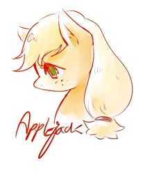 Size: 406x492   Tagged: safe, artist:rangwadis_949, applejack, earth pony, 2010s, 2017, cute, female, freckles, simple background, solo, white background