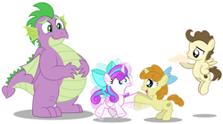 Size: 1280x713 | Tagged: safe, artist:aleximusprime, pound cake, princess flurry heart, pumpkin cake, spike, dragon, flurry heart's story, bow, colt pound cake, cute, dough, energetic, fat, fat spike, filly, filly flurry heart, filly pumpkin cake, flurrybetes, hyper, meeting, older, older pound cake, older pumpkin cake, shaking, shaking hoof, silly, simple background, transparent background, vibrating like a broken washing machine, winged spike
