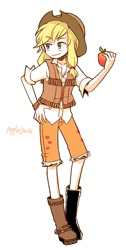 Size: 400x794 | Tagged: safe, artist:nightea, applejack, human, 2010s, 2013, apple, boots, clothes, cowboy hat, cutie mark, cutie mark on clothes, digital art, female, food, freckles, hat, humanized, no nose, shirt, shoes, simple background, smiling, solo, vest, white background