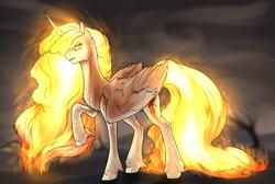 Size: 3200x2145 | Tagged: safe, artist:not-ordinary-pony, derpibooru exclusive, twilight sparkle, alicorn, the last problem, alternate timeline, angry, ashlands timeline, barren, female, implied genocide, mane of fire, mare, post-apocalyptic, princess twilight 2.0, rapidash twilight, solo, twilight sparkle (alicorn), wasteland