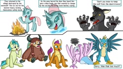 Size: 1280x720 | Tagged: safe, artist:termyotter, gallus, ocellus, sandbar, silverstream, smolder, yona, changedling, changeling, classical hippogriff, dragon, earth pony, griffon, hippogriff, pony, werewolf, wolf, yak, bow, cloven hooves, colored hooves, dragoness, faint, female, fire, hair bow, jewelry, male, monkey swings, necklace, shapeshifting, simple background, student six, teenager, white background