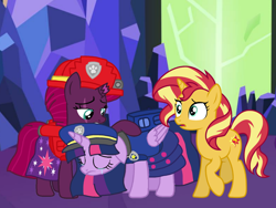 Size: 1440x1080 | Tagged: safe, artist:徐詩珮, fizzlepop berrytwist, sunset shimmer, tempest shadow, twilight sparkle, alicorn, pony, unicorn, series:sprglitemplight diary, series:sprglitemplight life jacket days, series:springshadowdrops diary, series:springshadowdrops life jacket days, alternate universe, base used, broken horn, chase (paw patrol), crying, cute, female, horn, lesbian, marshall (paw patrol), paw patrol, shipping, tempestbetes, tempestlight, twiabetes, twilight sparkle (alicorn)