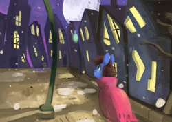 Size: 1275x903 | Tagged: safe, artist:toisanemoif, oc, oc only, oc:bizarre song, pegasus, pony, abstract, blinx the time sweeper, cape, clothes, colored, house, lamp, lamppost, male, moon, snow, solo, walking