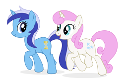 Size: 1770x1152 | Tagged: safe, artist:three uncle, minuette, twinkleshine, pony, unicorn, it's about time, background pony, duo, duo female, female, mare, simple background, smiling, transparent background, walking
