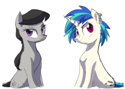 Size: 1400x1000 | Tagged: safe, artist:yaaaco, dj pon-3, octavia melody, vinyl scratch, earth pony, pony, unicorn, alternate hairstyle, ear piercing, earring, female, jewelry, lesbian, mare, piercing, scratchtavia, shipping, simple background, smiling, smirk, white background