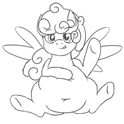 Size: 2000x2000 | Tagged: safe, artist:worstsousaphonehorse, oc, oc:comfy pillow, pegasus, chubby, fat, featureless crotch, female, lip bite, monochrome, on back, sketch, solo, spread legs, spreading, squishy