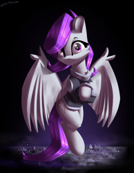 Size: 2100x2700 | Tagged: safe, artist:shido-tara, oc, oc:morning glory (project horizons), fallout equestria, fallout equestria: project horizons, clothes, crossed arms, fanfic art, flying, looking at you