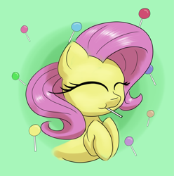 Size: 2731x2757 | Tagged: safe, artist:itchystomach, fluttershy, pegasus, candy, colored, cute, digital art, eyes closed, female, food, happy, lollipop, mare, shyabetes, solo