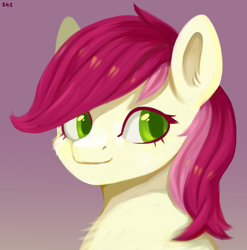 Size: 1580x1600 | Tagged: safe, artist:ske, roseluck, earth pony, pony, bust, ear fluff, female, flower, gradient background, looking at you, mare, rose, solo