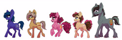 Size: 2673x880 | Tagged: safe, artist:celestial-rainstorm, oc, oc only, oc:azurite, oc:cherry chimichanga, oc:confetti cake, oc:iron forge, oc:sandstone pie, earth pony, pony, female, mare, offspring, parent:cheese sandwich, parent:limestone pie, parent:marble pie, parent:maud pie, parent:mud briar, parent:pinkie pie, parent:quibble pants, parent:trouble shoes, parents:cheesepie, parents:marbleshoes, parents:maudbriar, parents:quibblestone, simple background, stalion, white background