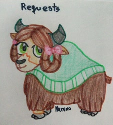 Size: 1536x1695 | Tagged: safe, yona, yak, bow, cloven hooves, colored pencil drawing, cute, hair bow, horns, looking at you, marker drawing, monkey swings, smiling, solo, traditional art, yonadorable