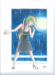 Size: 1700x2338 | Tagged: safe, artist:tonyfleecs, editor:michaelsety, rainbow dash, equestria girls, armpits, black dress, clothes, drenched, dress, female, high heels, human coloration, lipstick, little black dress, microphone, rain, rainbow dash always dresses in style, shoes, singing, singing in the rain, sleeveless, soaked, solo, spotlight, traditional art, wet, wet clothes