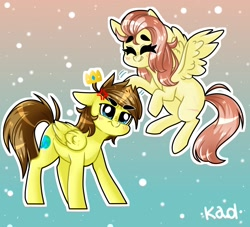 Size: 1650x1500 | Tagged: safe, artist:madkadd, oc, oc only, pegasus, pony, abstract background, blushing, cross-popping veins, duo, eyes closed, flower, flower in hair, flying, frown, pegasus oc, smiling, wings