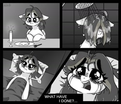 Size: 1400x1200 | Tagged: safe, artist:madkadd, oc, oc only, pegasus, pony, bed, blanket, candle, comic, crying, depressed, food, grayscale, hair over eyes, monochrome, open mouth, pegasus oc, pillow, plate, sad, shower, talking, wings
