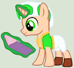 Size: 476x444 | Tagged: safe, artist:boringbases, artist:twidashfan1234, pony, toad, unicorn, base used, book, colt, crossover, glowing horn, green, green toad, hat, horn, male, mushroom hat, ponified, super mario bros., toad (mario bros)
