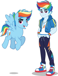 Size: 3056x4000 | Tagged: safe, artist:orin331, rainbow dash, pegasus, pony, equestria girls, equestria girls series, absurd resolution, alternate hairstyle, bandaid, clothes, converse, cute, cutie mark, equestria guys, flying, geode of super speed, handsome, hoodie, human ponidox, jacket, magical geodes, male, open mouth, pants, rainbow blitz, rule 63, self paradox, self ponidox, shirt, shoes, simple background, sneakers, stallion, sweatpants, t-shirt, transparent background