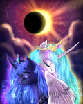 Size: 2408x3000 | Tagged: safe, artist:not-ordinary-pony, derpibooru exclusive, princess celestia, princess luna, alicorn, pony, curved horn, duo, eclipse, eyes closed, horn, redraw, royal sisters, sisters