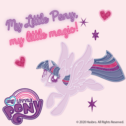 Size: 1024x1024   Tagged: safe, twilight sparkle, alicorn, pony, floating heart, heart, my little pony logo, official, simple background, solo, text, twilight sparkle (alicorn)