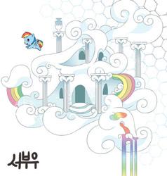 Size: 512x537 | Tagged: safe, artist:booseo, rainbow dash, pegasus, pony, rainbow falls, cloudsdale, female, flying, mare, rainbow dash's house, smol, solo