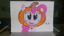 Size: 2048x1152 | Tagged: safe, artist:poorunii, pinkie pie, earth pony, clothes, colored pencil drawing, costume, halloween, halloween costume, hi, holiday, open mouth, pumpkin, smiling, solo, traditional art