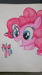 Size: 1152x2048 | Tagged: safe, artist:poorunii, pinkie pie, crossover, lego, looking at each other, magnifying glass, marker drawing, open mouth, smiling, the lego movie, traditional art, unikitty