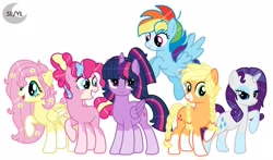 Size: 1920x1130 | Tagged: safe, artist:princesslunayay, applejack, fluttershy, pinkie pie, rainbow dash, rarity, twilight sparkle, alicorn, earth pony, pegasus, pony, unicorn, alternate design, alternate hairstyle, base used, coat markings, colored muzzle, colored wings, female, flower, flower in hair, freckles, happy, logo, mane six, mare, redesign, smiling, socks (coat marking), twilight sparkle (alicorn), wings