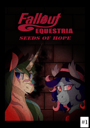 Size: 2339x3307 | Tagged: safe, artist:shirofluff, oc, oc:galaxy rose, oc:scorcher, bat pony, pony, unicorn, comic:seeds of hope, fallout equestria, 1950's, cigar, comic, cover art, fallout, fanfic, fanfic art, fanfic cover, foe, smoking, spotlight