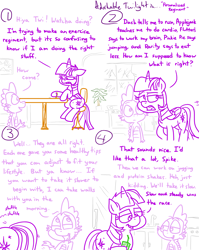 Size: 4779x6013 | Tagged: safe, artist:adorkabletwilightandfriends, applejack, fluttershy, pinkie pie, rainbow dash, rarity, spike, twilight sparkle, alicorn, comic:adorkable twilight and friends, adorkable, adorkable twilight, advice, butt, comic, cute, dork, exercise, family, friendship, happy, humor, juice, juice box, kitchen, love, misspelling, plot, refrigerator, regiment, relief, schedule, sitting, slice of life, table, twilight sparkle (alicorn)