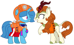 Size: 1331x814 | Tagged: safe, artist:徐詩珮, autumn blaze, spring rain, kirin, pony, unicorn, series:sprglitemplight diary, series:sprglitemplight life jacket days, series:springshadowdrops diary, series:springshadowdrops life jacket days, awwtumn blaze, base used, cute, female, lifeguard, lifeguard spring rain, lifejacket, mare, paw patrol, simple background, springbetes, transparent background