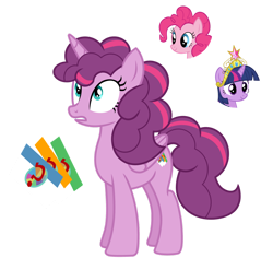 Size: 1280x1267 | Tagged: safe, artist:tenderrain46, pinkie pie, twilight sparkle, oc, alicorn, earth pony, pony, alicorn oc, big crown thingy, element of magic, female, horn, jewelry, magical lesbian spawn, mare, offspring, parent:pinkie pie, parent:twilight sparkle, parents:twinkie, regalia, simple background, transparent background, twilight sparkle (alicorn), wings
