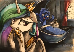 Size: 3000x2106 | Tagged: safe, artist:musical ray, princess celestia, princess luna, alicorn, pony, comic, duo, duo female, female, funny, mare, marker drawing, moon, royal sisters, sisters, sun, traditional art, trollestia