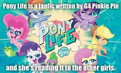 Size: 1000x600 | Tagged: safe, applejack, fluttershy, gummy, pinkie pie, rainbow dash, rarity, spike, twilight sparkle, alicorn, earth pony, pegasus, pony, unicorn, my little pony: pony life, caption, fanfic, headcanon, image macro, implied pinkie pie, mane seven, mane six, text, twilight sparkle (alicorn)