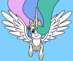 Size: 900x750 | Tagged: safe, artist:nopony, princess celestia, alicorn, pony, atg 2020, female, flying, flying at you, jewelry, looking at you, majestic, mare, newbie artist training grounds, regalia, solo, spread wings, wings