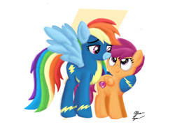 Size: 2048x1536   Tagged: safe, artist:robots-art, rainbow dash, scootaloo, pegasus, clothes, cute, cutealoo, dashabetes, honorary sister, hug, scootalove, simple background, uniform, wonderbolts uniform