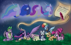 Size: 1280x820 | Tagged: safe, artist:maneiacmayhem, applejack, fluttershy, pinkie pie, princess cadance, princess celestia, princess flurry heart, princess luna, rainbow dash, rarity, spike, twilight sparkle, alicorn, dragon, earth pony, pegasus, unicorn, the last problem, gigachad spike, granny smith's scarf, letter, mane seven, mane six, medal, messy mane, older, older applejack, older fluttershy, older mane seven, older mane six, older pinkie pie, older rainbow dash, older rarity, older spike, older twilight, princess twilight 2.0, quill, scroll, twilight sparkle (alicorn), winged spike