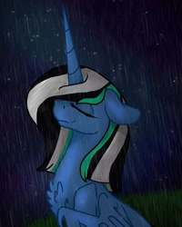 Size: 1080x1350 | Tagged: safe, artist:chrystal_company, oc, oc only, alicorn, pony, alicorn oc, bust, chest fluff, eyes closed, horn, night, rain, smiling, solo, wings