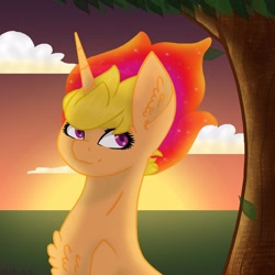 Size: 1080x1080 | Tagged: safe, artist:chrystal_company, oc, oc only, pony, unicorn, bust, chest fluff, cloud, ethereal mane, horn, outdoors, solo, starry mane, sunset, tree, unicorn oc