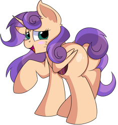 Size: 1280x1364 | Tagged: safe, artist:rainbowtashie, scootaloo, sweetie belle, oc, oc:sweet scooter, pegasus, pony, unicorn, butt, commissioner:bigonionbean, cute, dawwww, extra thicc, female, flank, fusion, fusion:sweet scooter, mare, not an alicorn, plot, simple background, transparent background, writer:bigonionbean