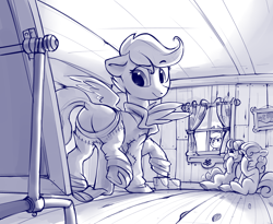 Size: 3000x2460 | Tagged: safe, artist:dimfann, apple bloom, applejack, scootaloo, sweetie belle, earth pony, pegasus, pony, unicorn, series:pony re-watch, the show stoppers, butt, cutie mark crusaders, dock, laughingmares.jpg, scootabutt