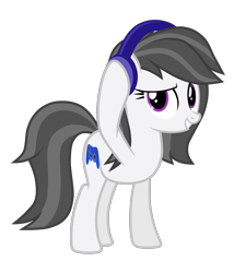 Size: 2652x2962 | Tagged: safe, artist:chomakony, oc, oc only, oc:katenoon, earth pony, pony, controller, earth pony oc, female, headphones, mare, raised hoof, simple background, smiling, solo, solo female, transparent background