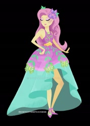 Size: 1280x1793 | Tagged: safe, artist:rlynn-art, artist:sketchysketchiness, fluttershy, equestria girls, legend of everfree, black background, clothes, deviantart watermark, dress, eyes closed, obtrusive watermark, pose, signature, simple background, smiling, solo, watermark