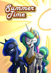 Size: 955x1351 | Tagged: safe, artist:mysticalpha, princess celestia, princess luna, alicorn, crown, ethereal mane, eyes closed, female, floppy ears, jewelry, laughing, luna is not amused, mare, open mouth, regalia, royal sisters, summer, sun, sweat, unamused