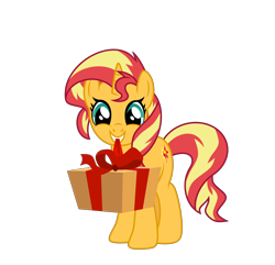 Size: 6400x6178 | Tagged: safe, artist:emeraldblast63, sunset shimmer, unicorn, female, looking at you, mare, mouth hold, present, simple background, smiling, solo, transparent background