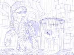 Size: 1024x768 | Tagged: safe, artist:novaintellus, shining armor, pony, unicorn, armor, atg 2020, city, female, filly, force field, knight, magic, male, monochrome, newbie artist training grounds, rain, royal guard, signature, smiling, stallion, sword, traditional art, unnamed character, unnamed pony, weapon