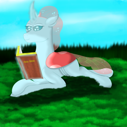 Size: 3000x3000 | Tagged: source needed, safe, artist:lord atlantean, ocellus, changeling, bible, book, female, grass, solo